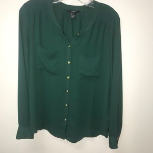 Green button down blouse